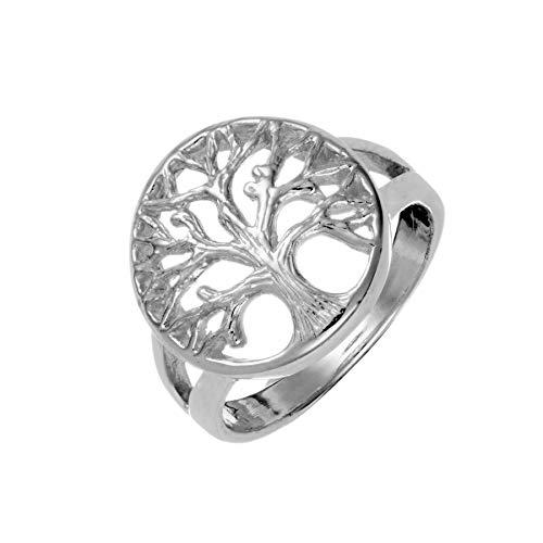Silverly Árbol de la Vida Celta Circular Anillo de Mujer en Plata de Ley .925