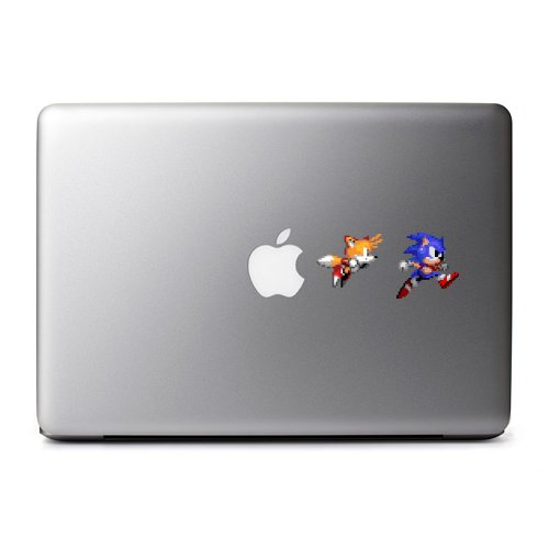 Retro 8-Bit Sonic and Tails Decals from Sonic the Hedgehog for MacBook, iPad Mini, iPhone 5S, Samsung Galaxy S3 S4, Nexus, HTC One, Nokia Lumia, Blackberry