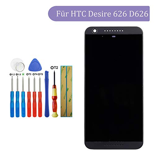 Tangzhi LCD Display Kompatibel mit HTC Desire 626 D626q A32 626S D626n 626G+ D626w D626d D626t D626x (Schwarz with Rahmen) Touchscreen Bildschirm Digitizer Assembly Glas +Tools