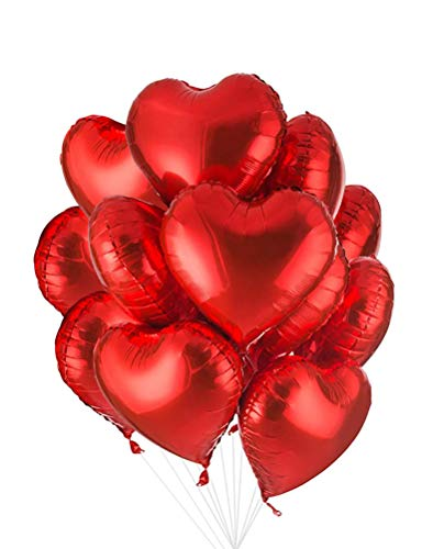 AnnoDeel 20 pcs 18inch Red Heart Balloons, Heart shaped Balloons foil Love Balloons for Wedding Decoration Party Balloons Birthday