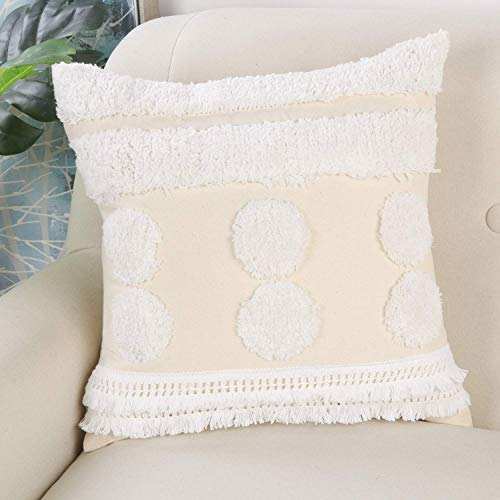 Ailsan Boho Tufted Throw Pillow Covers 18x18 Inch, Cute Cotton Woven Square Decorative Pillow Cover...
