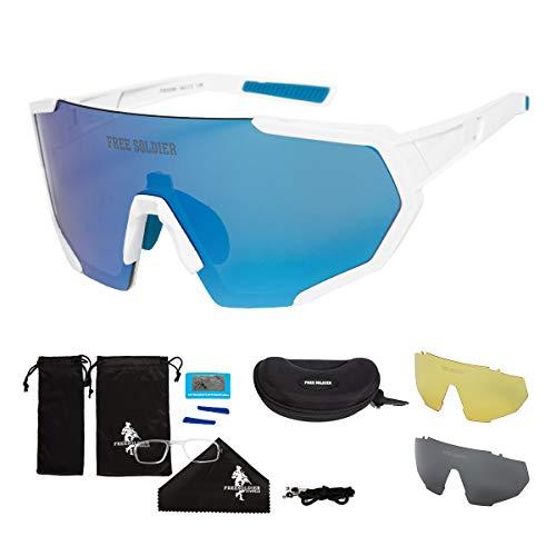 FREE SOLDIER Occhiali da Sole Polarizzati con 3 Lenti Intercambiabili per Uomo Donna Occhiali Ciclismo UV400 Occhiali Bici Sportivi Leggeri in Escursionismo Vela Pesca(Bianco + Blu)