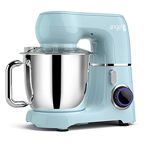 Mini angel Stand Mixer,10-Speed 5.5QT Kitchen Electric Mixer with DIY Color Stickers,Tilt-Head Food Mixer with Dough Hook, Wire Whisk, Flat Beater, Stainless Steel Bowl - Blue for Mothers Day