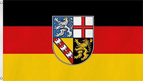Bundesland Fahne, Grösse: ca. 90x150 cm, Ordentliche Qualität - Keine hauchdünne Ware - Stoffgewicht ca. 90 gr/m2, Reissfest, für Aussenbereich geeignet Farbe Saarland