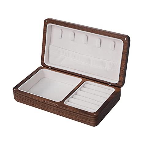 OMYLFQ Caja de joyería de Viajes Joyería de Madera Organizador Caja portátil Vintage Caja de joyería Artesanía para Gemelos, Anillos, Colgantes, Cadena (Size : Walnut White)