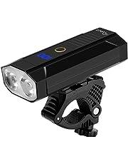 RYACO fietsverlichting, [UPGRATED] Type-C USB oplaadbare fietskoplamp, 2400 lumen heldere fietskoplamp met 5200 mAh, 2 * LED, 5 standen, IP65 waterdicht bergwielrennen voorlicht, LED-zaklamp