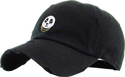 KBETHOS Panda Dad Mütze Baseball Cap Polo-Stil verstellbar, Unisex-Erwachsene Herren, (Distressed) Black, Einstellbar