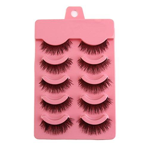 Sweepid 5 Paires/Ensemble Natual Fashion Handmade Soft Eye Lashes Extension Accessoire de Maquillage Noir