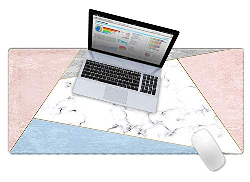 LuvCase Desk Pad, Office Desk Mat, 31.5' x 15.7' PU Leather Desk Blotter, Laptop Desk Mat, Waterproof Desk Writing Pad for Office and Home Decor, Thick Gaming Mouse Pad (White Marble Blue Pink)