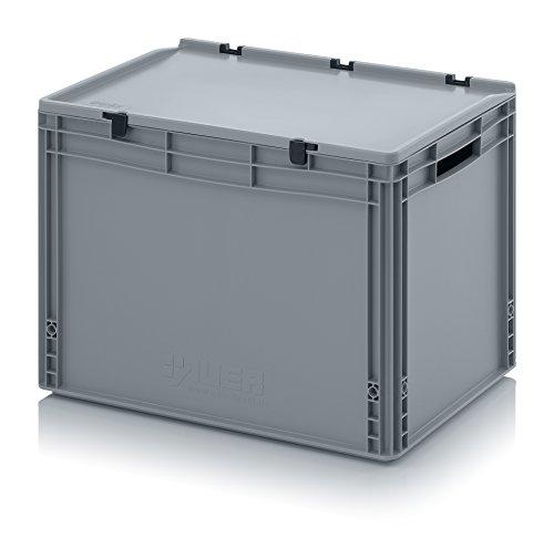 Eurobehälter-Eurobox 60 x 40 x 43,5 cm mit offenen Griffen und Scharnierdeckel inkl. gratis Zollstock