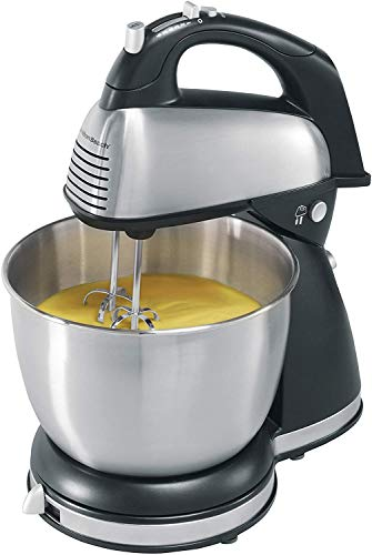 Meneflix 2 in 1 Hand and Stand Mixer - Dough Hook Accessories - 5 Speeds - 2L Stainless Steel Bowl and Non Slip Feet