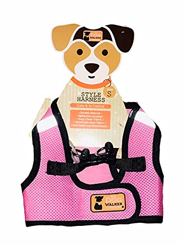 The Dog Walker Company Reflector Accent Harness Small Dogs 4-5lbs. Pink with Black Trim
