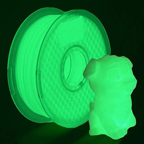 YOYI Filamenti per stampanti 3D,Pla filamenti 1 kg (2,2 lb), 100% materiale grezzo vergine, precisione dimensionale +/- 0,03 mm, ecologico£¨nero£ (PLA Glow in Green)