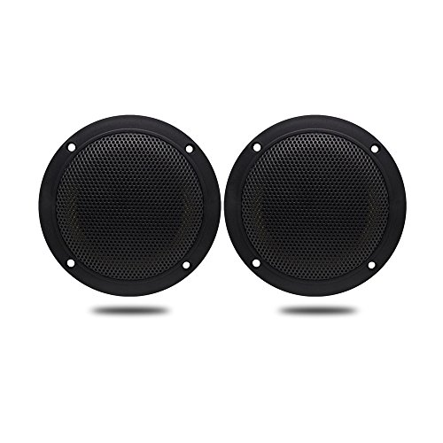 4 Inches Herdio Waterproof Marine Ceiling Flush Wall Mount Speakers with 160 Watts Power, Handling for Kitchen Bathroom Boat Car Motorcycle Cloth Surround and Low Profile Design - 1 Pair (Black)