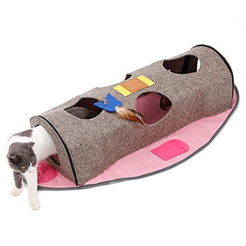 Redcolourful Faltbares Katzenspielzeug Multifunktionaler Katzennesttunnel Faltbare fischförmige Anhänger Wärme spielende Katzenvorräte Rosa 105 * 61 * 22CM