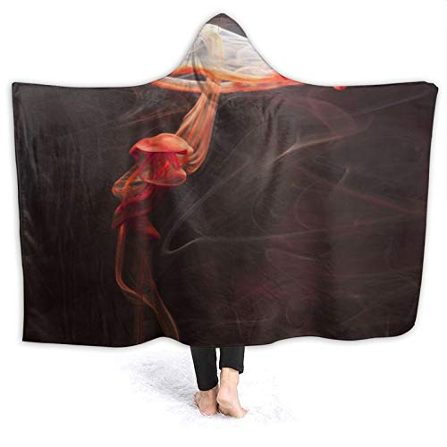 MIGAGA Hoodie Blanket Warm Flannel,Giant Red Jellyfish Deep Sea Photography Art Design Black Background,Soft Wearable Throw Blankets 60'×50'