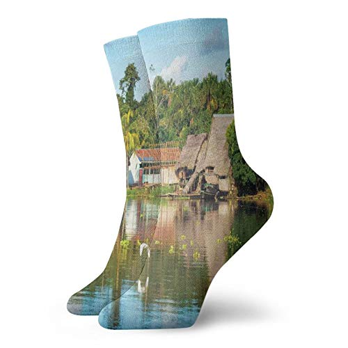 Soft Mid Calf Length Socks,Tropical Amazonian Riverside Village Huts Palm Trees Sunny Day Clouds Bird Forest,Socks for Men Women