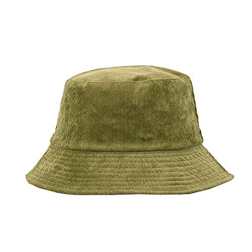Sombrero Lavabo De Pana con Sombrero De Pescador De ala Pequeña De Doble Cara Sombrilla para Hombre Y Mujer Sombrero De Pescador Estilo Invierno Verde