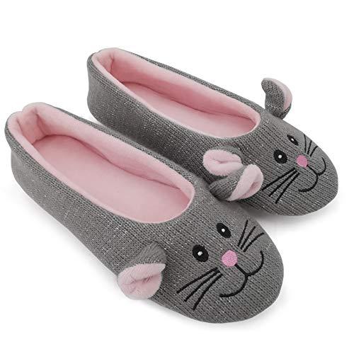 ofoot Zapatillas de Casa para Mujer Bailarina,Zapatos Lindo Animal Punto mullidas Planos con Suela de Goma Antideslizante(Rata Gris,38/39 EU)