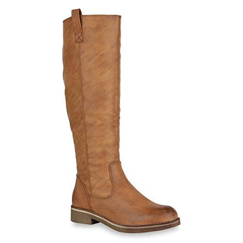Klassische Damen Stiefel Leicht Gefüttert Block Absatz Schuhe 148562 Hellbraun Brooklyn 38 Flandell