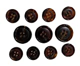 Set of 11 Premium Genuine Dark Espresso Brown Buffalo Horn Buttons for Sport Coats, Blazers, and Suit Jackets