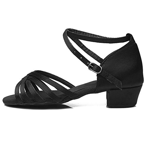 DKZSYIM Girls&Women s Black Satin Latin Dance Shoes Ballroom Performance Shoes Style 202  12.5 M Little Kid