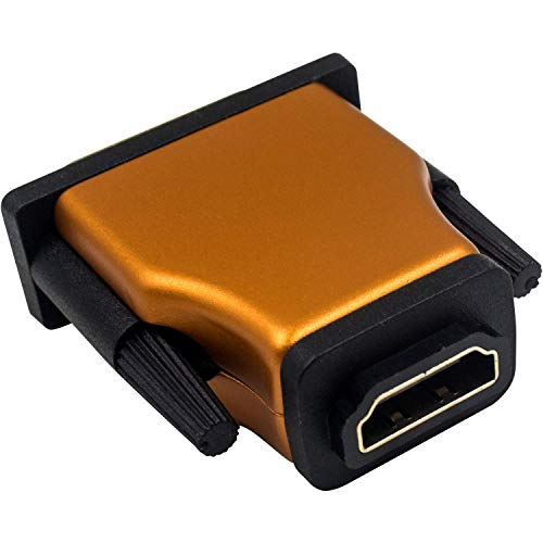 Duttek Adattatore da DVI a HDMI arancione, HDMI femmina a DVI maschio con convertitore Full HD 1080P placcato oro