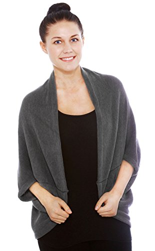 Simplicity Women's Soft 3/4 Sleeved Crochet Wrap Cardigan Shawl, Grey