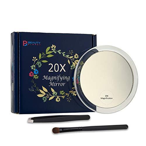 Miroir grossissant x 20 Fois avec 3 ventouses,pour Le Maquillage l'épilation Les Points Noirs et Les Taches,Pince à épiler Gratuite,diamètre 10cm