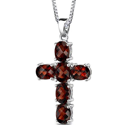 Garnet Cross Pendant Necklace Sterling Silver 6.00 Carats