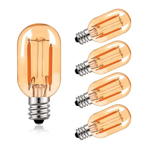 T22 LED Glühbirne Bernstein Glas Vintage Edison Röhrenbirnen E14 220V Glühbirne, 10 Watt äquivalent 2200K Ultra Warm White Birnen, 100 Lumen nicht dimmbar, 5er Pack