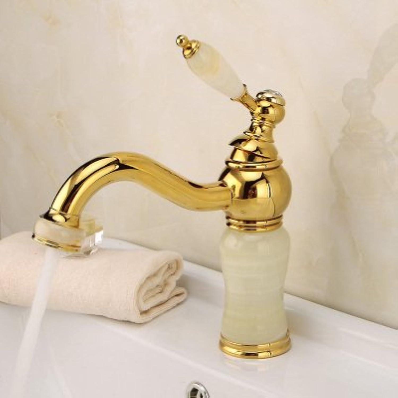 Gyps Faucet Waschtisch-Einhebelmischer Waschtischarmatur BadarmaturWaschbecken Wasserhahn Warmes und Kaltes Voll Kupfer Gold schwenkbare Waschbecken Jade Dragon Gold Grün Jade D,Mischbatterie Wasc