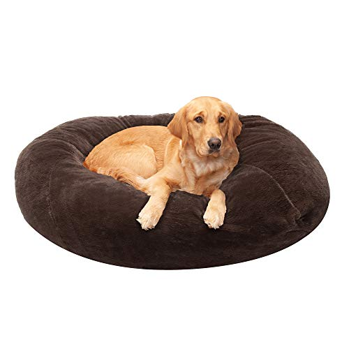 Furhaven Pet Dog Bed - Round Plush Faux Fur Refillable Ball Nest Cushion Pet Bed with Removable Cover for Dogs and Cats, Espresso, Jumbo