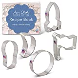 Ann Clark Cookie Cutters 5-Piece Space/NASA Cookie Cutter Set with Recipe Booklet, Flag, Rocket, Moon, Crescent Moon and Footprint