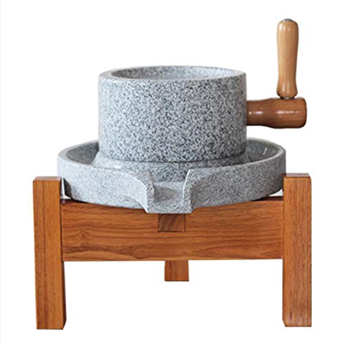 StonePlus Natural Smooth Granite Manual Food Paste Mill, Hand Crank Wet Grain Grinder with Stand (8.66x13.8in)