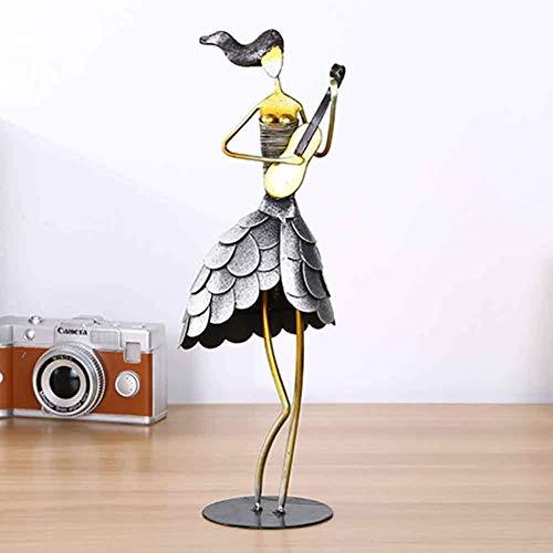AMYZ FYHJND Iron Art Creative Musician Wear Falda de Escamas de Pescado Banda de Mujer Tocando artesanías de Metal Adecuado para la decoración del hogar Sala de Estar Armario de Vino Soporte de T