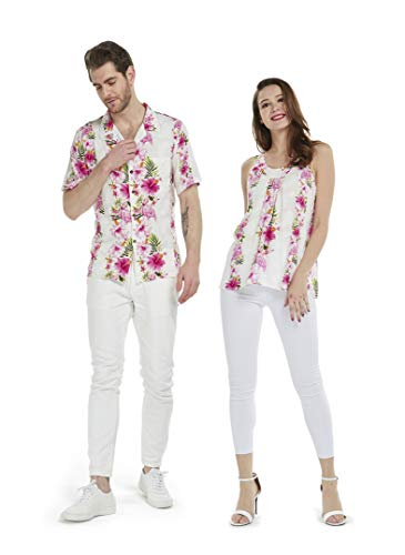Couple Matching Hawaiian Luau Outfit Aloha Shirt and Tank Top in Pink Hibiscus Vine Men L Women M
