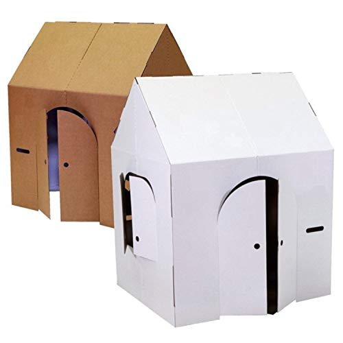 """Easy Playhouse Blank Crafty Cottage - Kids Art & Craft for Indoor Fun, Color, Draw, Doodle on this Blank Canvas – Decorate & Personalize a Cardboard Fort, 32"""" x 26.5"""" x 40.5"""" - Made in USA, Age 2+"""