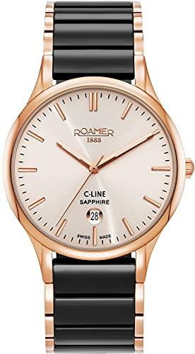 Roamer Reloj de pulsera para hombre C-Line de 40 mm, 3 manecillas, ventana de fecha, correa de acero inoxidable 658833 49 35 61