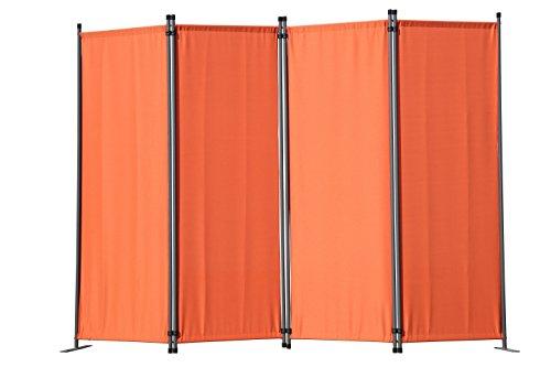 Angel Living Paravant 4tlg Sichtschutz,Faltbildschirm Raumteiler Sichtschutz aus Stahl und Polyester (Orange)