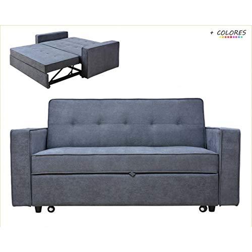 Sofá Cama de 180 cm tapizado en Tela Brazos Modelo Izan (Gris)
