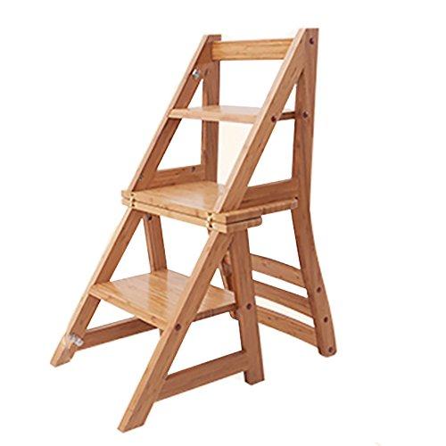 LRZLZY Fuß Hocker, 3 Stufen - Holzklappleiter Stuhl, Hauptmultifunktions Schritt Hocker Stabilität und Sicherheit
