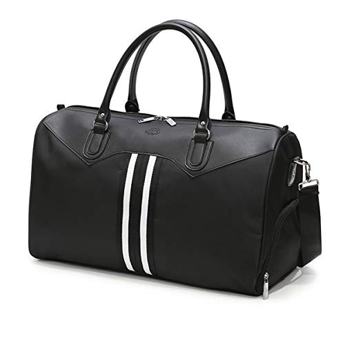 Sac de Sport Sac de Voyage Nylon Sacs de Voyage de Weekend Mini Gym Travel Duffel Bag pour Femmes et Hommes avec Compartiment à Chaussures Séparé(Noir Sac de Voyage)