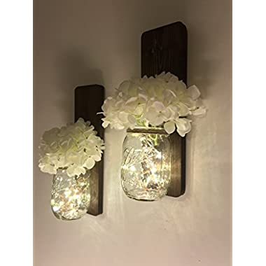 Tennessee Wicks Handmade Rustic Country Mason Jar Wall Sconce Set of Two, Choice of Lights and Flowers