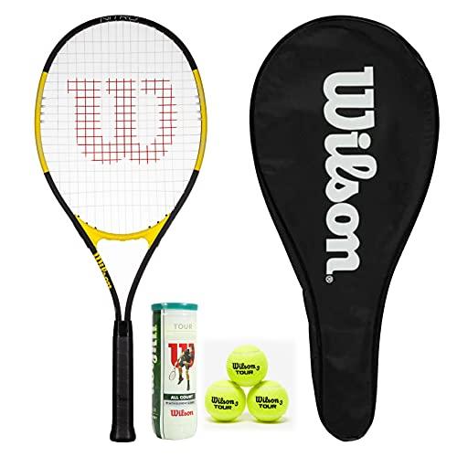 Wilson Nitro Excel 112 - Raqueta de tenis con funda de longitud completa y 3 pelotas de tenis Wilson Tour