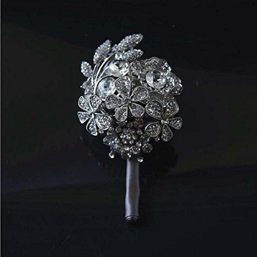 GJX Handgemaakte Strass Diamond Holding Bloem Rose Satijn Bruids Corsage Bruidsboeket