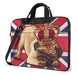 Laptop Messenger Bag American Flag Pug Dog Shockproof Notebook Sleeve Protective Bag Laptop Carrying Case Handbag with Strap,Compatible with MacBook Tablet Ultrabook (13 in,14 in)