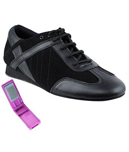 Very Fine Ballroom Latin Tango Salsa Dance Shoes for Men SERO106BBX Flate Heel + Foldable Brush Bundle - Black Leather-Black Suede - 10