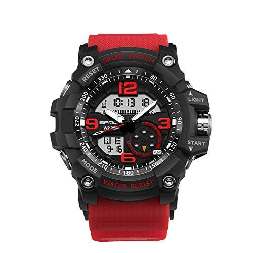 SDEWQ Relojes Deportivos para Hombre, Resistente al Agua Digital Militares Relojes Calendario Reloj con Alarma/Cuenta Regresiva/Cronómetro/LED/ 12/24H para Hombre