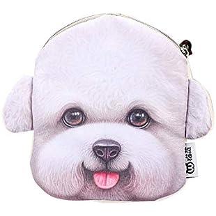 Xshuai Fashion Cute Fan Dog Head Zero Wallet 3D Printing Coin Purse Bag Key Bag Cartoon Girl Wallet (B)